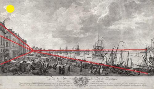 le point de fuite est la grille de la place royale inaugurée en 1755
